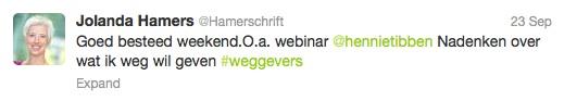 Jolanda Hamers tweet 23 9 2013 klanten