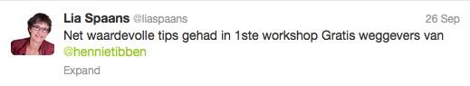 Lia Spaans tweet 26 9 2013 klanten